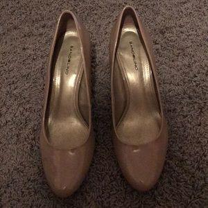 Tan patent leather heels